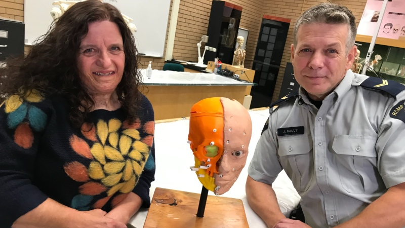Forensic anthropologist Pam Mayne Correia and RCMP Forensic Artist Cpl. Jean Nault with some of their work.