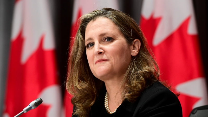 Minister of Finance Chrystia Freeland holds a press conference on Parliament Hill in Ottawa on Thursday, Sept. 24, 2020. THE CANADIAN PRESS/Sean Kilpatrick