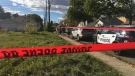 Police taped off an area at 71 Street and 128 Avenue on Thursday afternoon. (Jay Rosove/CTV News Edmonton)