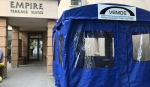 A new visiting pod, designed by Nor Environmental Industrial is removing the Plexiglas barrier and allowing for more normal visits at the Empire Center, a North Bay retirement home. (Alana Pickrell/CTV News)