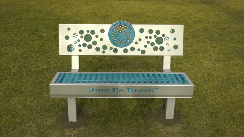 Julie Burke, an 11-year-old girl who died of cancer, is being remembered with a friendship bench at the Father Henri Voisin School in Red Deer. Sept. 24, 2020. (Nav Sangha/CTV News Edmonton)
