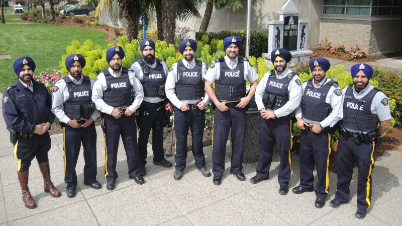Sikh members of the Surrey RCMP are seen in this image the detachment tweeted in 2019. (Surrey RCMP)
