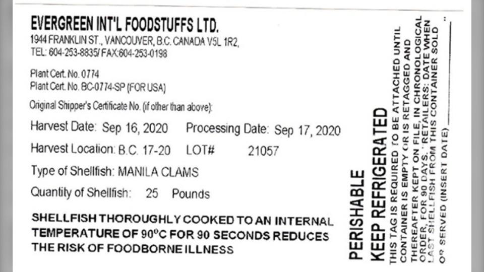 Manila clam recall