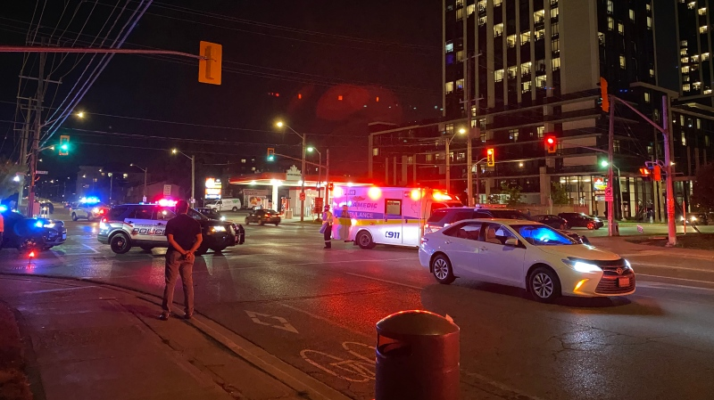 Police investigate after two pedestrians were hit by a vehicle in Waterloo (Terry Kelly / CTV News Kitchener)