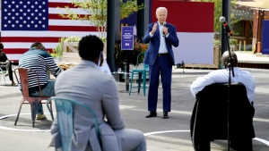 In this Sept. 23, 2020, file photo Democratic presidential candidate former Vice President Joe Biden speaks during a Biden for President Black economic summit at Camp North End in Charlotte, N.C. (AP Photo/Carolyn Kaster, File)