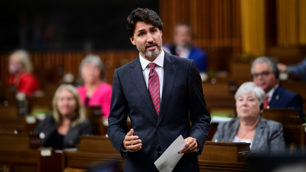 Prime Minister Justin Trudeau stands during question period in the House of Commons on Parliament Hill in Ottawa on Thursday, Sept. 24, 2020. (THE CANADIAN PRESS/Sean Kilpatrick)