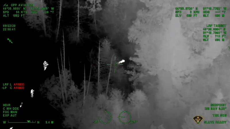 The OPP helicopter spotted a missing Ontario boy in the woods. (Source: Thomas Carrique Twitter)