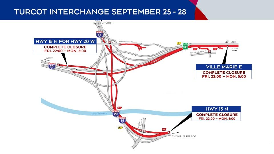 Turcot Interchange closures Sept. 25-28, 2020