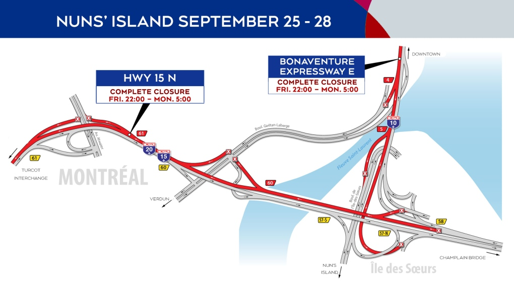 Nuns' Island closures Sept. 25-28