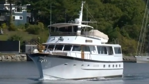 A yacht formerly owned by famous stuntman Evel Knievel is seen in Halifax after a local businessman, Rob Steele, purchased the boat.