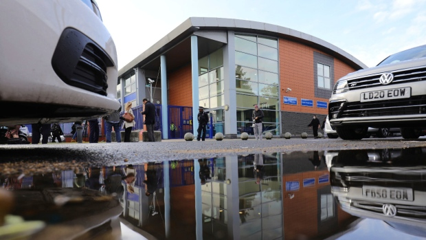 A view of Croydon Custody Centre in London, where a police officer was shot in the early hours of Sept. 25, 2020. (Aaron Chown / PA via AP)