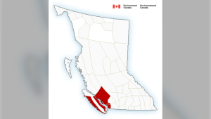 A graphic from Environment Canada shows the regions in B.C. with weather warnings in effect as of 7:30 a.m. Friday, Sept. 25, 2020.