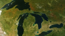 NASA's Terra satellite captured this photo-like image of the Great Lakes and Ontario's rivers in the fall of 2007. A new report says Canada's rivers are at risk and some are even close to drying up because of climate change and growing demand for water.