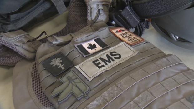EMS equipment on display in Edmonton.