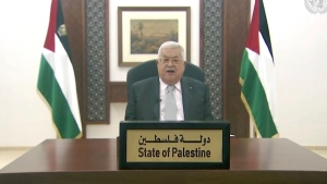 In this image made from UNTV video, Palestinian President Mahmoud Abbas speaks in a pre-recorded message which was played during the 75th session of the United Nations General Assembly, Friday, Sept. 25, 2020, at UN headquarters, in New York. (UNTV via AP)