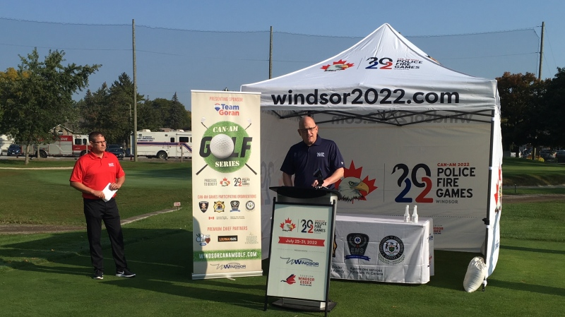 Windsor Mayor Drew Dilkens speaks at the Golf FORE First Responders event at Roseland Golf and Curling Club in Windsor, Ont. on Friday, Sept. 25 2020. (Chris Campbell/CTV Windsor)