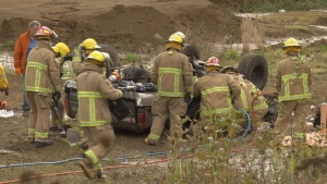 Crews had to extricate the man and woman from the crumpled vehicle, both with significant injuries. (CTV News)