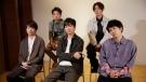 Members of Japanese pop music band ARASHI listen to a question during an interview with The Associated Press in Tokyo on Thursday, Sept. 17, 2020. Back row, from left, clockwise, are Satoshi Ohno, Masaki Aiba, Kazunari Ninomiya, Jun Matsumoto and Sho Sakurai. (AP Photo/Hiro Komae)