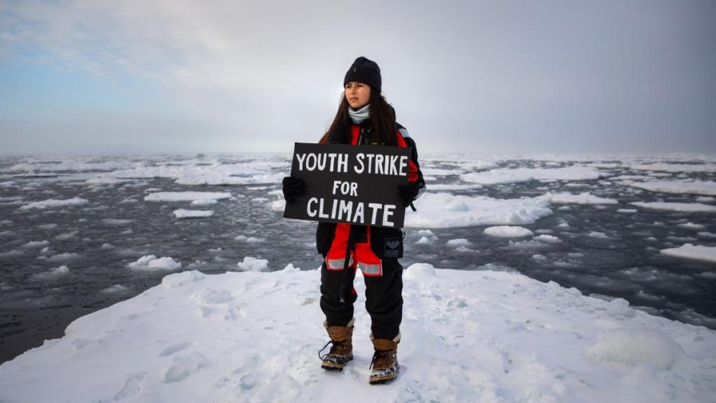 Mya-Rose Craig protests on an ice floe