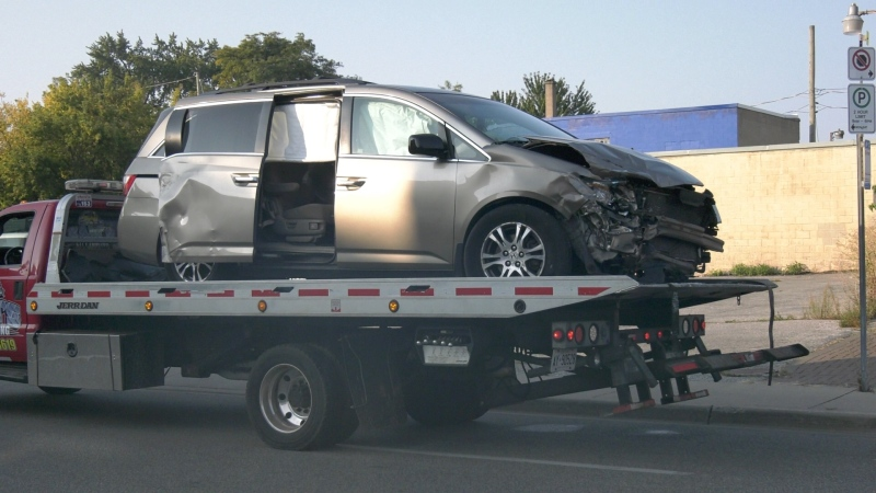 Van involved in downtown collision that Glengarry Avenue closed in Windsor, Ont. on Friday, Sept. 25 2020. (Bob Bellacicco/CTV Windsor)
