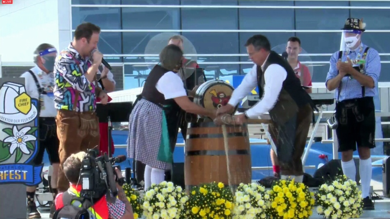 Tapping the first keg of Oktoberfest 2020. (Sept. 25, 2020)