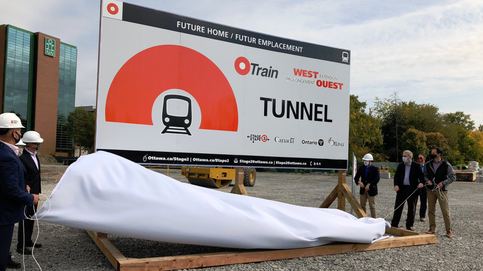 The City of Ottawa officially began construction on the Stage 2 LRT tunnel that will run under the Sir John A. Macdonald Parkway and Byron Linear Park. (Photo courtesy: Twitter/JimWatsonOttawa)