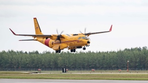 The new CC-295 fixed-wing search and rescue aircraft is pictured at Canadian Forces Base Comox, B.C. on Friday, Sept. 25, 2020. (Canadian Armed Forces / Facebook)