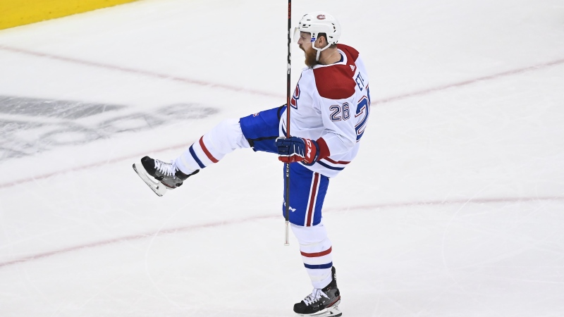 Montreal Canadiens defenceman Jeff Petry (26) celebrates after scoring the game winning goal against the Pittsburgh Penguins during overtime NHL Eastern Conference Stanley Cup playoff action in Toronto on Saturday, August 1, 2020. THE CANADIAN PRESS/Nathan Denette