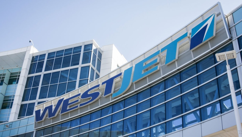 WestJet head office after the company laid off nearly 7,000 employees, in Calgary, Alta., Wednesday, March 25, 2020, amid a worldwide COVID-19 flu pandemic. WestJet says it plans to bring back nearly 6,400 employees on to its payroll with the help of Ottawa's emergency wage subsidy program. (THE CANADIAN PRESS/Jeff McIntosh)