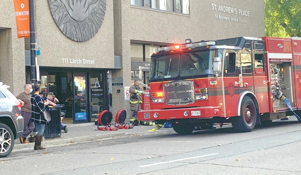 Fire crews in Greater Sudbury are battling a structure fire at St. Andrews downtown Friday. (Photo courtesy of David Lacasse)