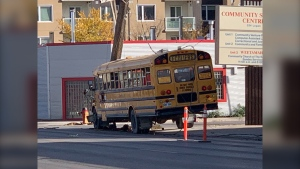 A school bus is involved in a crash at the corner of Logan Avenue and Stanley Street (CTV News Photo Jamie Dowsett)
