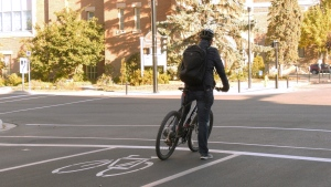 A Regina cyclist is seen using a bike lane in this image.