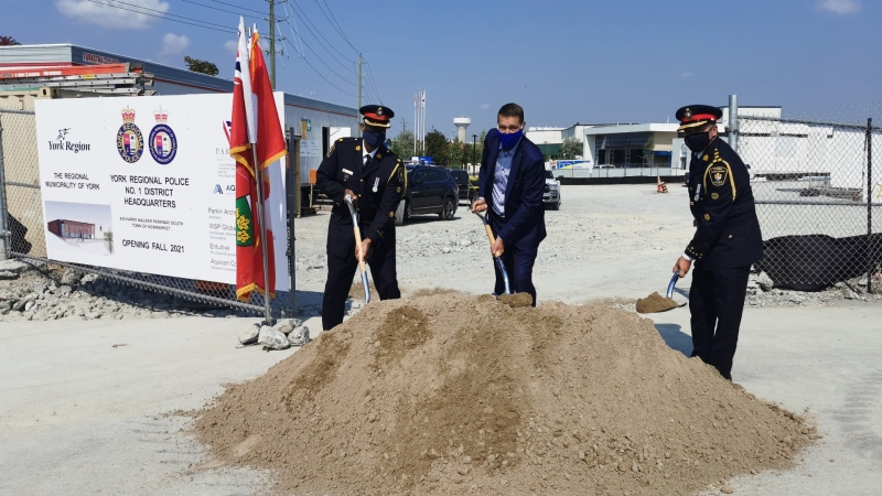 The York Regional Police break ground on a new site for District One headquarters in Newmarket, Ont., on Fri., Sept. 25, 2020. (CTV News Barrie)