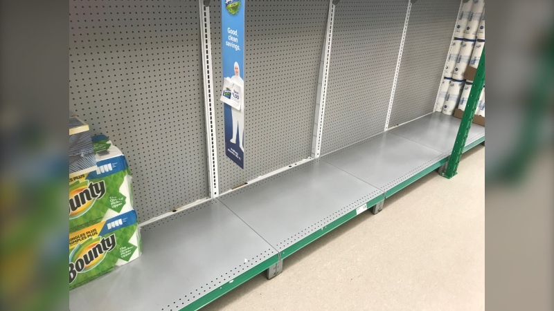 Toilet paper shelves are empty at several stores in Ottawa, Kingston and across eastern Ontario. (Kimberley Johnson/CTV News Ottawa)