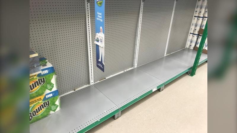 Shelves are empty at several stores in Ottawa, Kingston and across eastern Ontario. (Kimberley Johnson/CTV News Ottawa)