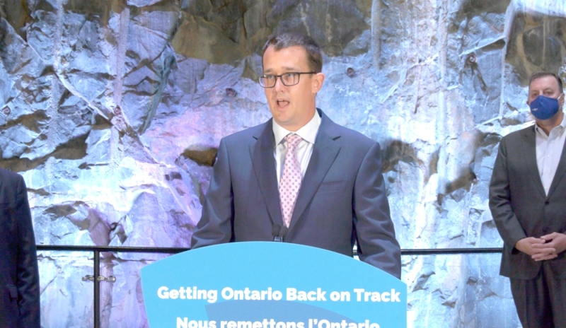 Jobs and skills training took centre stage for Ontario Labour Minister Monte McNaughton as he visited Sudbury on Friday. It's the latest stop in his province-wide tour where he announced almost $2 million in new funding. (Ian Campbell/CTV News)