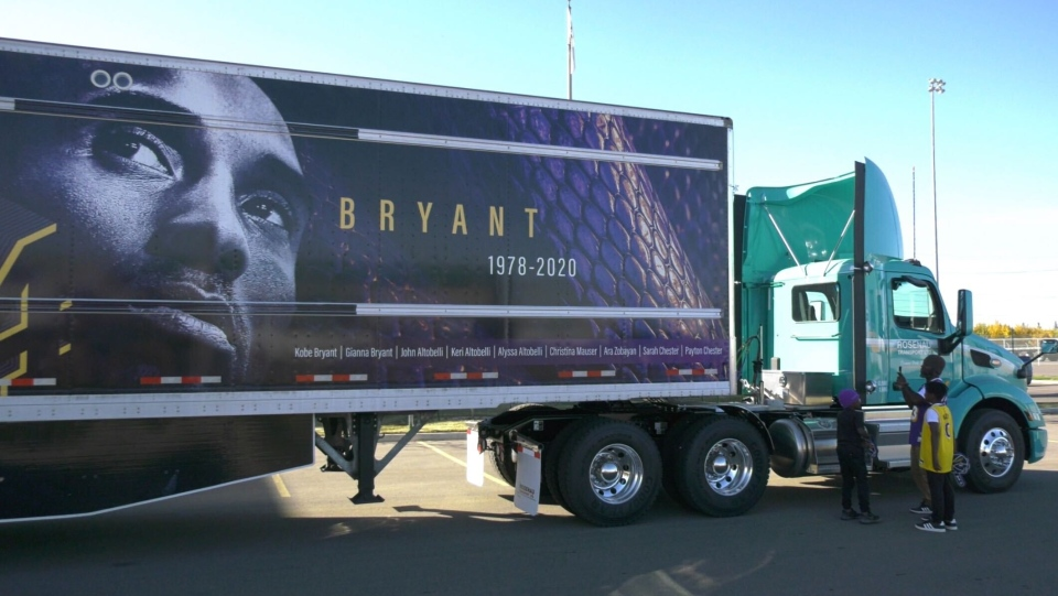 A Kobe Bryant tribute was on display in Edmonton on Friday, Sept. 25, 2020. (Darcy Seaton/CTV News Edmonton)