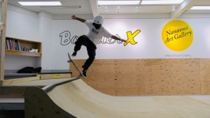 Visitors are welcome to try skating on the halfpipe at the Nanaimo Art Gallery's newest exhibit: (CTV News)