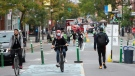 People move along Mount Royal Avenue which has been turned into a pedestrian mall during the COVID-19 pandemic Wednesday, September 23, 2020 in Montreal.THE CANADIAN PRESS/Ryan Remiorz