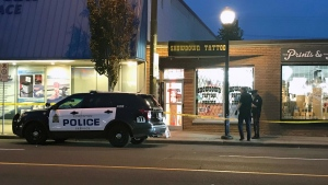 Police taped off an area on 124 Street on Sept. 24. (Sean McClune/CTV News Edmonton)