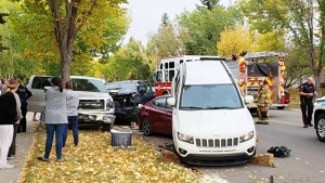 A man is in stable, non-life threatening condition after he drove his vehicle into a number of parked cars Friday in southeast Calgary. (Photo courtesy Glen Bell)