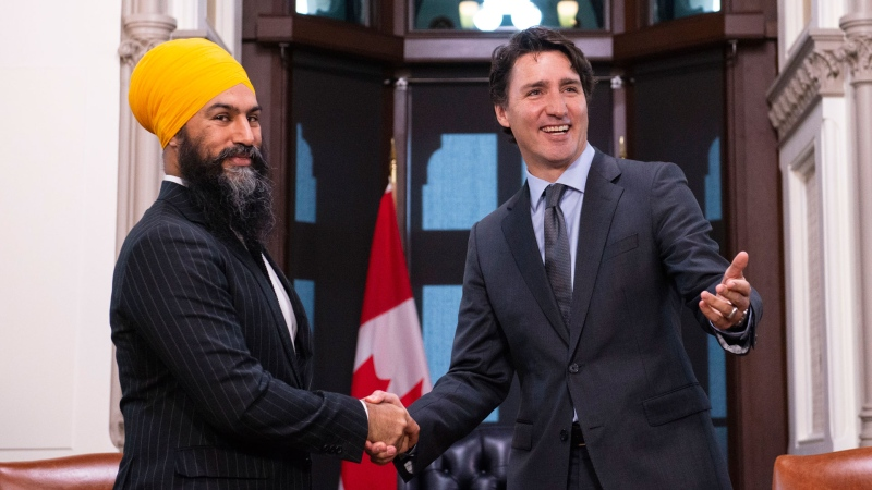 NDP leader Jagmeet Singh meets with Prime Minister Justin Trudeau on Parliament Hill in Ottawa on Thursday, Nov. 14, 2019. THE CANADIAN PRESS/Sean Kilpatrick