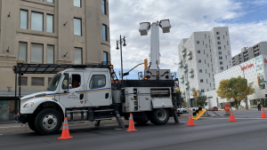 City crews repairing a traffic light on Portage Avenue after a collision Friday night. (Source: CTV News/Michael D'Alimonte)