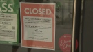 A sign posted outside Marbl Restaurant, one of the three restaurants ordered to closed by Toronto Public Health for not following COVID restrictions.