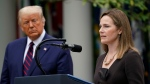 Judge Amy Coney Barrett speaks after U.S. President Donald Trump announced Barrett as his nominee to the Supreme Court, in the Rose Garden at the White House, Saturday, Sept. 26, 2020, in Washington. (AP Photo/Alex Brandon)