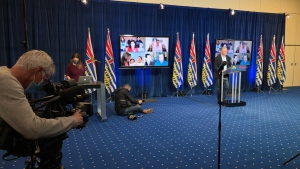 BC Liberal leader Andrew Wilkinson speaks at a virtual campaign rally on Saturday, Sept. 26. (Penny Daflos/CTV)