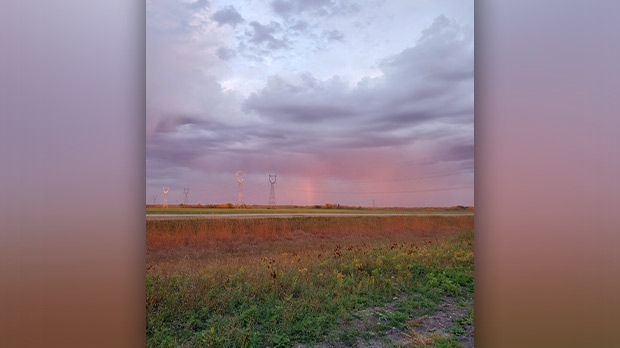 Rainbows after the rain south east of Anola. Photo by Judy Wegner.