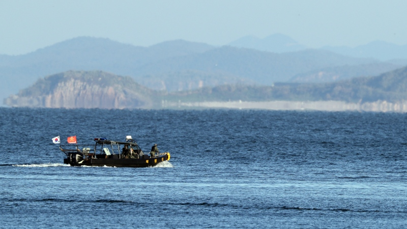 A South Korean marine boat patrols near Yeonpyeong island, South Korea, Sunday, Sept. 27, 2020. (Baek Seung-ryul/Yonhap via AP)