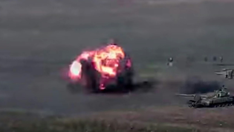 A grab from a video available on the Armenian Defence Ministry website allegedly showing action against Azeri forces during clashes between Armenian and Azerbaijan separatists. (AFP)