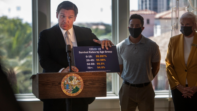 Gov. Ron DeSantis shows a card stating COVID-19 survival rates by age group as he announces phase three openings at news conference in St. Petersburg, Fla., on Friday, Sept. 25, 2020. (John Pendygraft/Tampa Bay Times via AP)